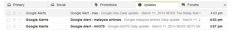Google alert in mailbox