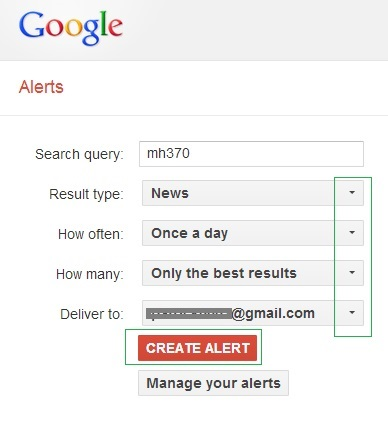 create google alert option
