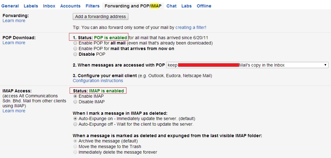 enabled pop and imap setting